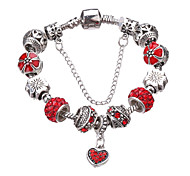 Antique Silver Plated Heart Pendant Beads Strands Bracelet   #YMGP1037