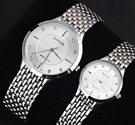 Couple's Dress Style Stainless Steel Band Quartz Watch