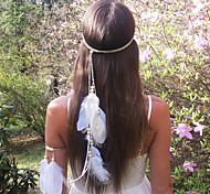 мода богемы перо деревянные бусины женские повязки 1 шт