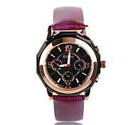 Women's Luxury Fashion Six Pointers Leather Band Quartz Watch