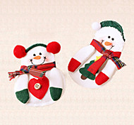 4pcs Snowman Christmas Decoration Silverware Tableware Cutlery Bag Holder Xmas Gift Table Decor