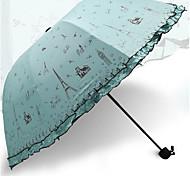 corea de vinilo paraguas de triple plegado paraguas paraguas de sol UV del sol ultraligero hombres y mujeres pequeños