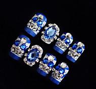 24PCS Fashion Jewelry Blue Nail Tips