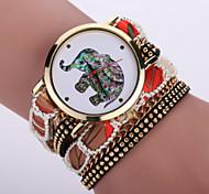 Women's Bohemian Style Fabric Band White Elephant Case Analog Quartz Layered Bracelet Fashion Watch