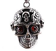 титан литье черепа, инкрустированные рубин ожерелье