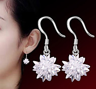 2016 Korean Women 925 Silver Sterling Silver Jewelry Crystal Flower Earrings Drop Earrings 1Pair
