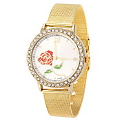 Women's Cool Steel Gold Leather Band Rose Case Analog Quartz Fashion Watch(-Not Water Resistant)