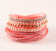 Fashion Classic Vintage Rhinestone Leather Bracelets for women Christmas Gifts Lengthen