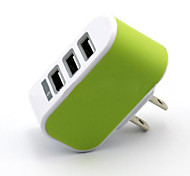 Home Charger For iPad For Cellphone For Tablet For iPhone 3 USB Ports US Plug White