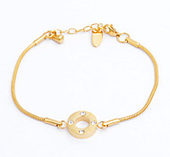 Fashion High Quality Circle 316L Stainless Steel CZ Diamond Inlaid Chain Bacelets