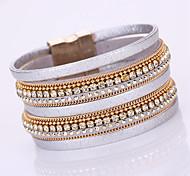 Bracelet Chaînes & Bracelets / Bracelets Wrap / Bracelets en cuir Alliage / Cuir / Strass Forme Géométrique Mode / Bohemia styleQuotidien