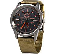 Hombre Reloj Militar / Reloj de Vestir / Reloj de Moda Cuarzo Reloj Casual Tejido Banda Cool Negro / Verde Marca