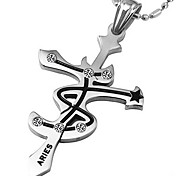 der Tierkreis-Persönlichkeit Titan Stahl Kreuz Anhänger - widder