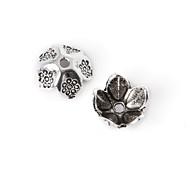 36pcs beadia plata antigua granos de la aleación del casquillo de 9x4mm forma de la flor granos del espaciador