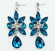 2016 Fashion Silver Plated Big Blue Crystal Water Drop Dangle Earrings Flower Long Earrings Woman Party Jewelry