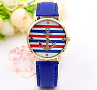 Women/Lady's Leather Band Red/White/Blue Stripe Anchor Case Analog Quartz Fashion Dress Casual Watch Strap Watch