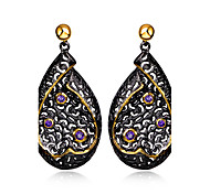 See through Heart Gold pattern Big Drop earrings Black Gold Plated Amethyst Bezel setting Cubic Zirconia