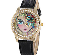 Women's Fashion Quartz Casual Watch PU Belt Diamond Round Alloy Beatiful Face Dial Watch Cool Watch Unique Watch