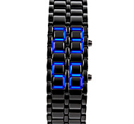 Unisex Blue LED Lava Style Black Steel Band Wrist Watch Cool Watch Unique Watch Fashion Watch