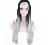 """parrucca ombre grigio falso capelli sintetici parrucche 26 """"parrucca grigia naturale a buon mercato capelli Kylie Jenner dritti lungo"""