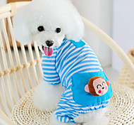 Cat / Dog Pajamas Blue / Pink / Yellow Winter / Spring/Fall Animal Holiday, Dog Clothes / Dog Clothing