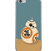 Orange Robot Pattern  Transparent TPU Material Phone Case for iPhone 6 6S  6 Plus 6S Plus