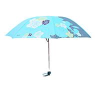 Красный / Синий Складные зонты Солнечный и дождливой Металл / Plastic Lady
