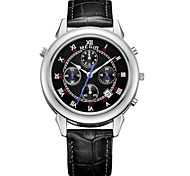 MEGIR® Men's Black Leather Band Black/White Case 30M Water Resistant Dress Watch(Include Package)
