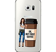 Coffee Girl Pattern Soft Ultra-thin TPU Back Cover For Samsung GalaxyS7 edge/S7/S6 edge/S6 edge plus/S6/S5/S4