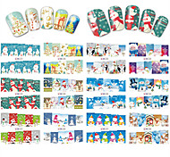 12 Designs Nail Art Stickers Christmas Beautiful Colorful Snowflake Snowman Image Nail Beauty BN217-228