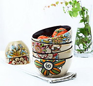 Characteristics of Hand-Painted Ceramic Salad Personality Noodles in Soup Bowl (Random Style)