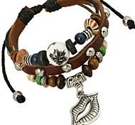 Women Alloy Silver Lips Leather Bracelets