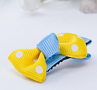 Korean Flower Girl's Fabric Bow Random Color Hair Clip