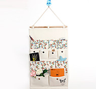 Thirteen Pockets Behind The Door Print Flower Storage Bag