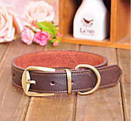Dog Collar Adjustable/Retractable Solid Red / Black / Brown Genuine Leather