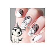 1pcs Designed Happy Cute Cat Pattern Water Decals Transfers Nail Art Salon Decor Stickers Tips DIY Decorations