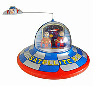 Novelty Toy  Puzzle Toy  Wind-up Toy Novelty Toy  Circular  Space Ship Metal Blue For Kids