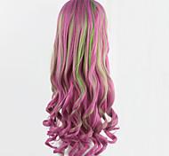 Cosplay-Perücken pink anime lockigen Perücken langen gewellten Mädchen synthetische Perücken 70cm festliche Party peruca