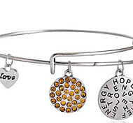 Women's Fashion Yellow Lovely Letter Pattern Silver Charm Bracelet