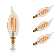 3.5 E12 LED лампы накаливания B 4 COB 300 lm Янтарный Регулируемая / Декоративная AC 110-130 V 4 шт.