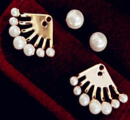 Lady's Pearl Stud Earrings for Casual