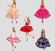 Party/Evening Dresses For Barbie Doll Red / Purple / White / Orange / Wine Red Lace Dresses For Girl's Doll Toy