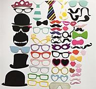 58pcs / комплект Photo Booth реквизита очки шляпа усов губы на палочке свадьба день рождения партии забавное украшение поделок картины