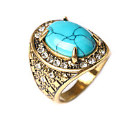 Women's Fashion Diamond Turquoise Antique Gold Plating Ladies Ring
