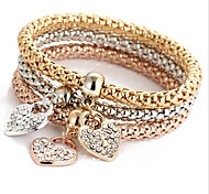 Fashionable Diamond Love Charm Alloy Bracelets 1set