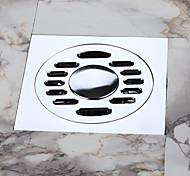 Bathroom / Washing Machine Floor Drain, Contemporary / Chrome / Solid Brass