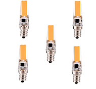YWXLIGHT 5Pcs Dimmable 5W E12 LED Bi-pin Light T 1 COB 400-500 lm Warm White / Cool White (AC 110-130 V)