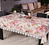 Peony Embroidery Cover Round Tea Table Cloth  (100 * 150 cm)