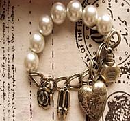 Damen Strang-Armbänder Liebe Herz Modisch Perlenbesetzt Perle Aleación Kreisform Herzform Schmuck Liebe Golden Schmuck Für Alltag Normal1