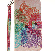 Painted Colorful Flowers Pattern Card Can Lanyard PU Phone Case For Samsung Galaxy Note 4 5 7